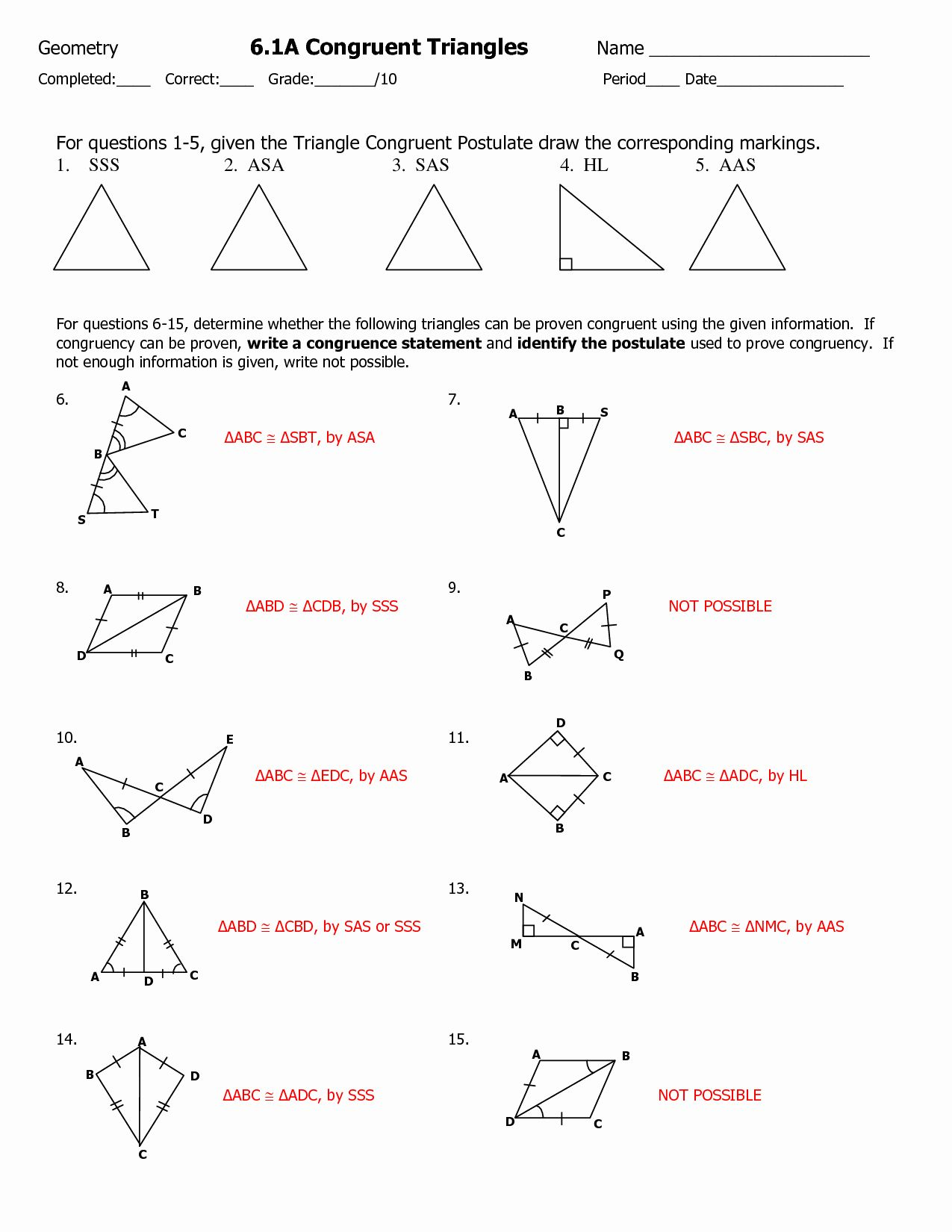 50 Congruent Triangles Worksheet With Answer In With