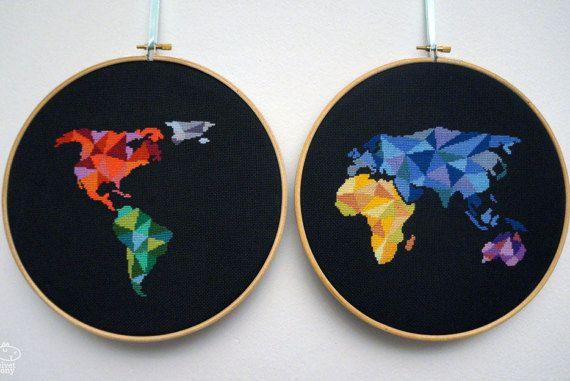Modern cross stitch pattern pdf geometric world map world maps modern cross stitch pattern pdf geometric world map world gumiabroncs Images