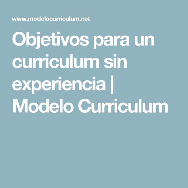 Objetivos Para Un Curriculum Sin Experiencia Modelo Curriculum