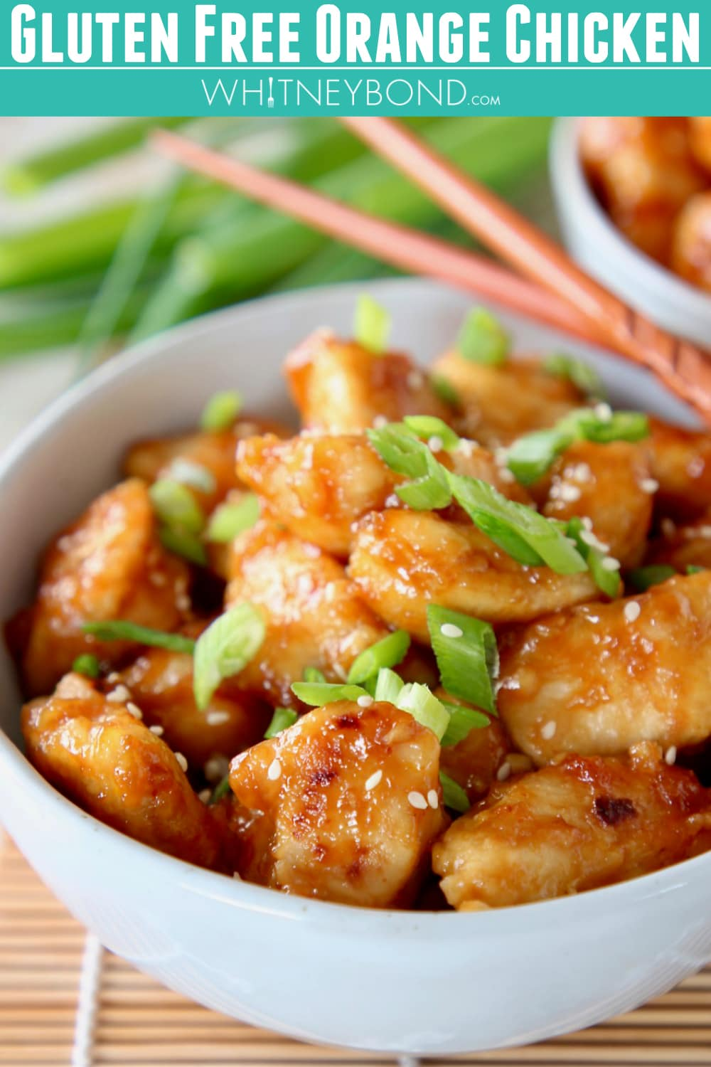 Gluten free orange chicken is a quick & easy recipe with the most delicious sauce that's healthy & more delicious than Chinese restaurant take out! #chineseorangechicken