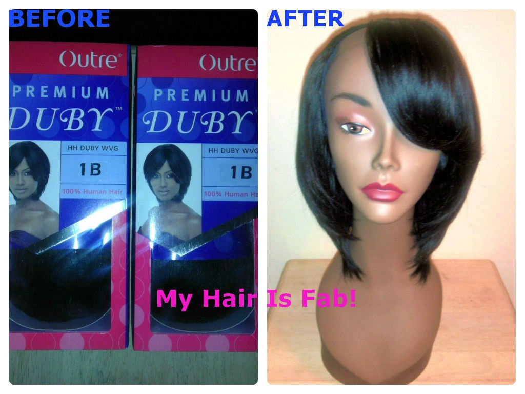 l shape wig: before & after! specs: outre premium duby hair
