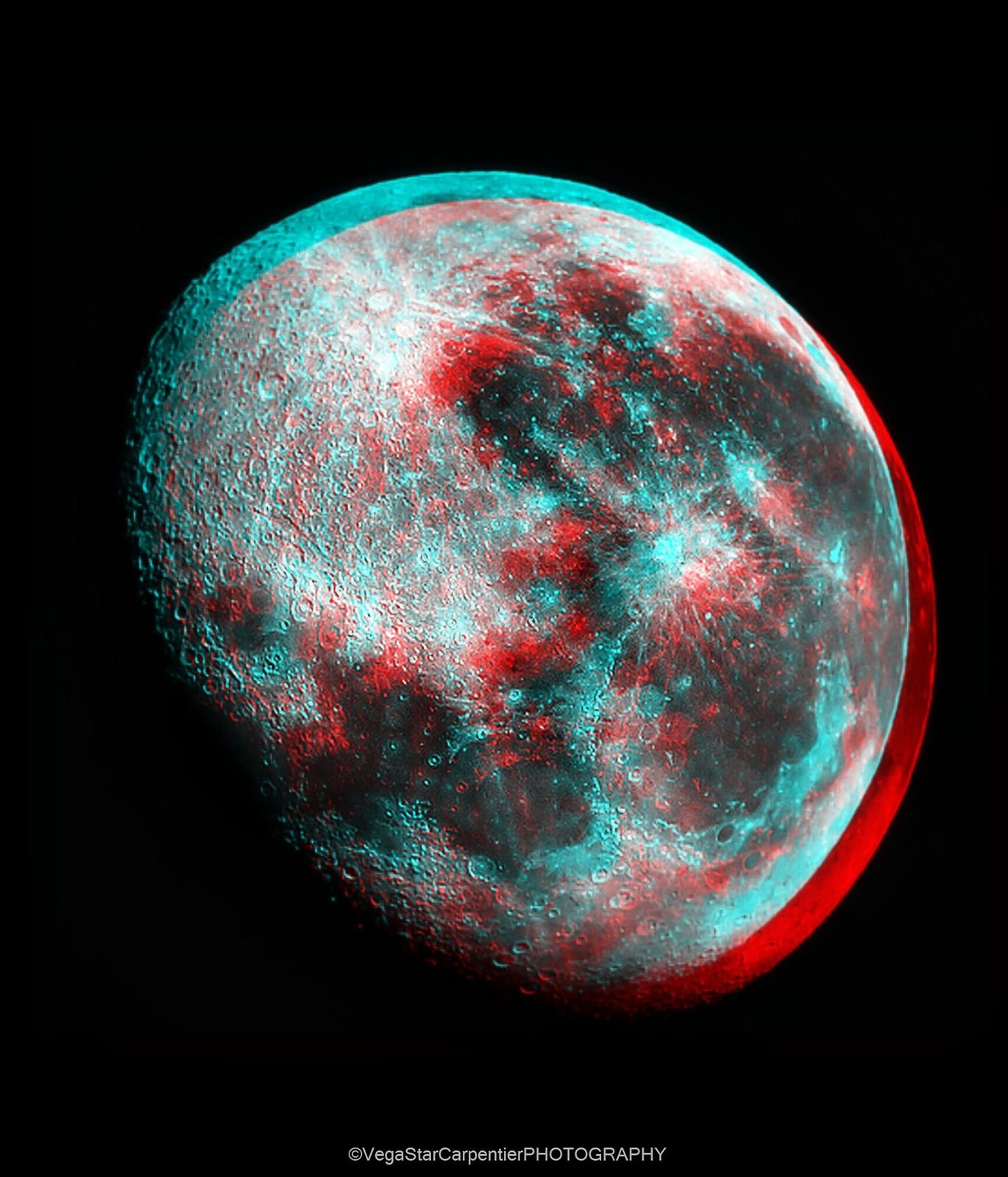 3D anaglyph Moon