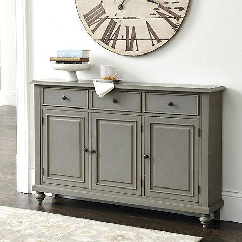 """Hallway Console Cabinet $600 martin 3-door console overall: 36""""h x 55 1/2""""w x 10 3/4""""d"""