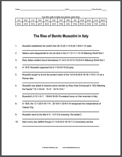 Rise Of Benito Mussolini In Italy Code Puzzle Worksheet For High