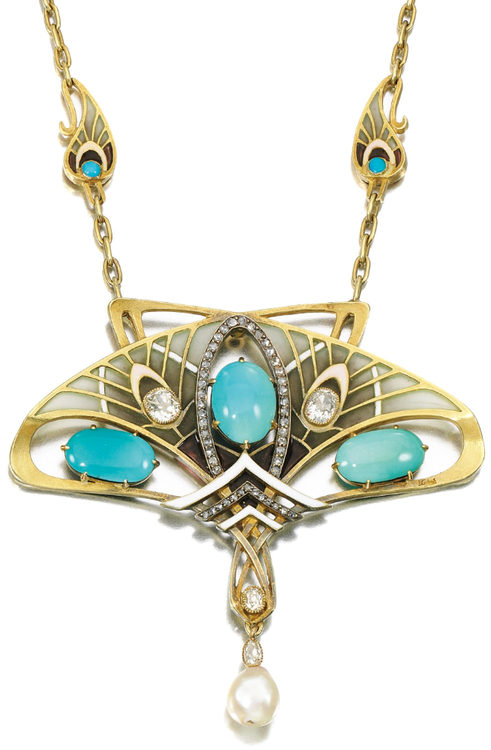 Art Nouveau Turquoise, natural pearl, enamel and diamond pendant necklace, Gautrait, Circa 1900. Of abstract design, set with cabochon turquoise, a natural pearl drop, cushion-shaped and rose diamonds, highlighted with plique-à-jour, opaque and pearlescent enamel, suspended from a chain set at intervals with similar motifs, length approximately 620mm, pendant detachable, signed L.Gautrait, French assay marks. Via Sotheby's.