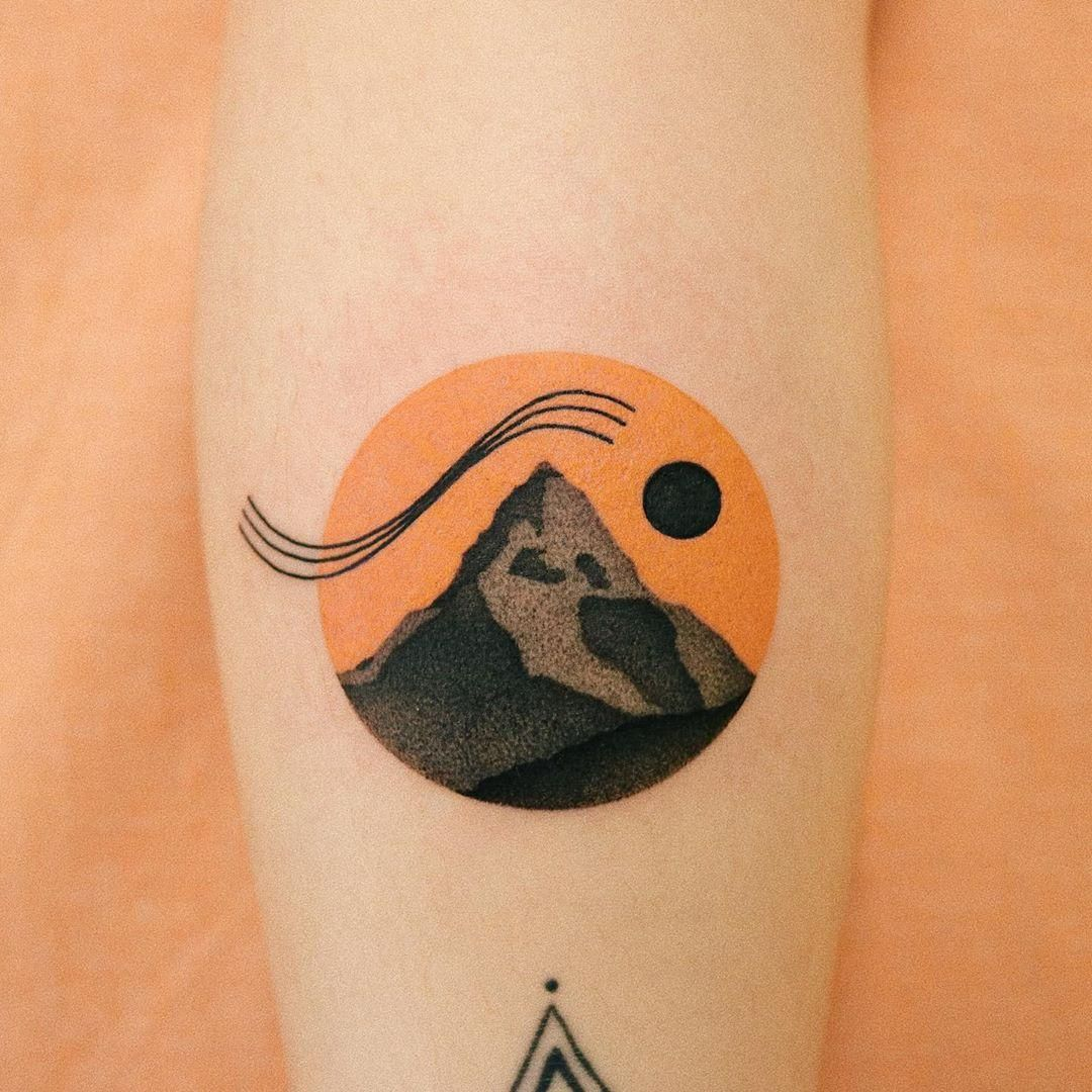 Mountain and orange sky by takemymuse in 2020 Tattoos