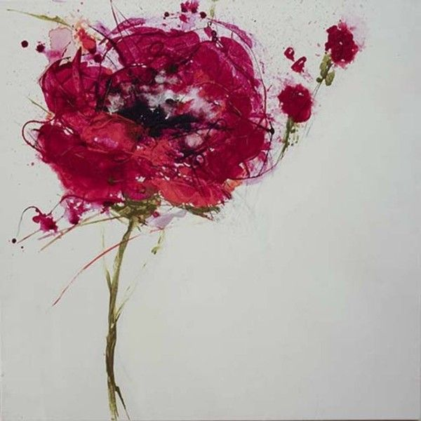 Unconstructed Poppy Painting by Jan Griggs ($880) ❤ liked on Polyvore featuring home, home decor, wall art, flower home decor, flower stem, flower paintings, garden wall art and poppy home decor