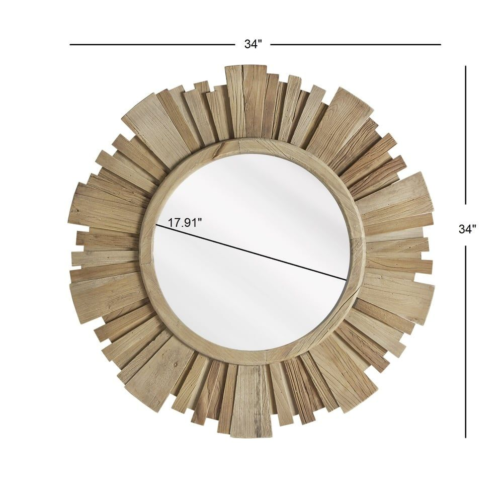 Canyon Round Reclaimed Wood Starburst Wall Mirror iNSPIRE Q Modern |  Overstock.com Shopping -