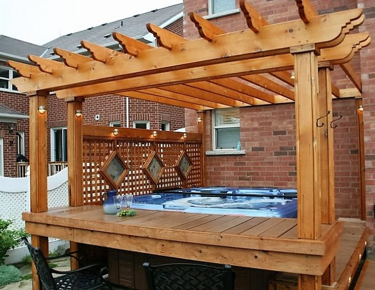 Hot tub pergola decks out door yard diy pinterest for Hot tub deck designs plans