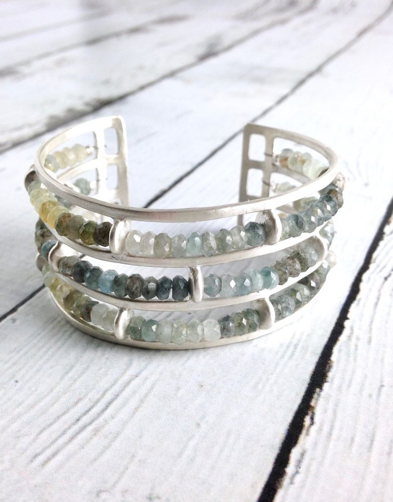Handmade Matte Sterling Silver Wide Cuff Bracelet With 3
