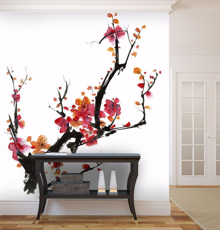 papier peint japonais cerisier en fleur chambre b b. Black Bedroom Furniture Sets. Home Design Ideas