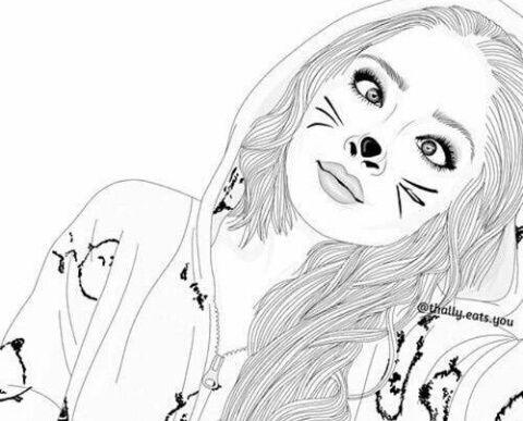 Girl Outline And Cat Image Esbozar Dibujos Dibujos A Lapiz