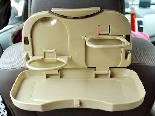 Travel dining tray features 2 drink holders, food tray holder for french fries & ketchup #caraccessories  www.larrywhickermotors.com