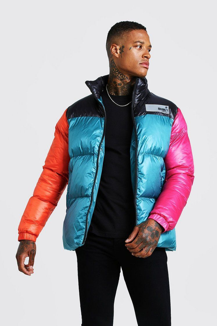Colour Block Hand Filled Puffer Boohooman Distressed Denim Jacket Quilted Coat Puffer [ 1121 x 747 Pixel ]