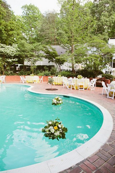 Real Weddings Courtney Michaels Backyard Poolside