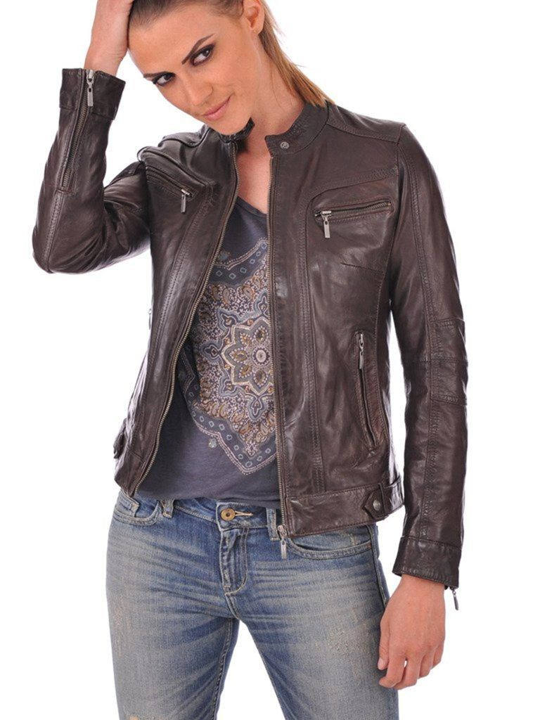 Western Leather Womens Lambskin Leather Bomber Biker Jacket