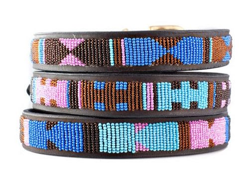 These stunning dog collars are hand-beaded by artisans of the Maasai tribe in Kenya, making each and every one a unique, one-of-a-kind piece. Miles is ALL OVER the tribal trend right now.