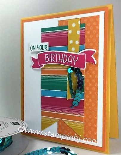 Check out the Festive feel to this birthday greeting!  Find out how you can get the look for free!  #stampinbj.com