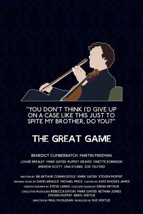 The Great Game Sherlock poster http://www.etsy.com/listing/119005730/the-great-game-alternative-television?ref=v1_other_1