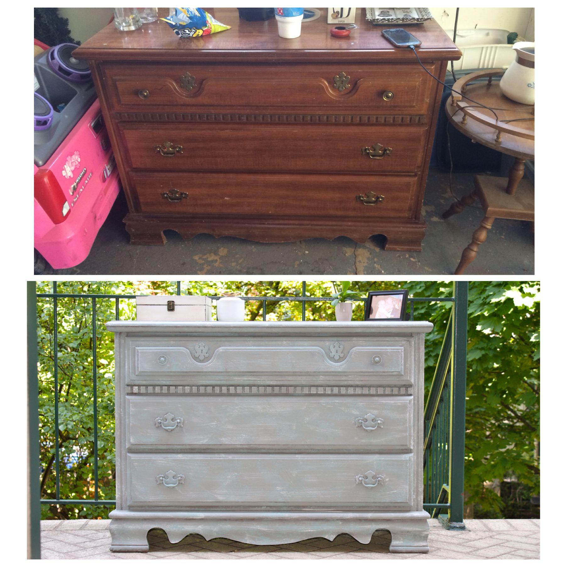 Shabby Chic Beachy Antique Vintage White Gray Turquoise Cottage Dresser Dakota Lane Chicago