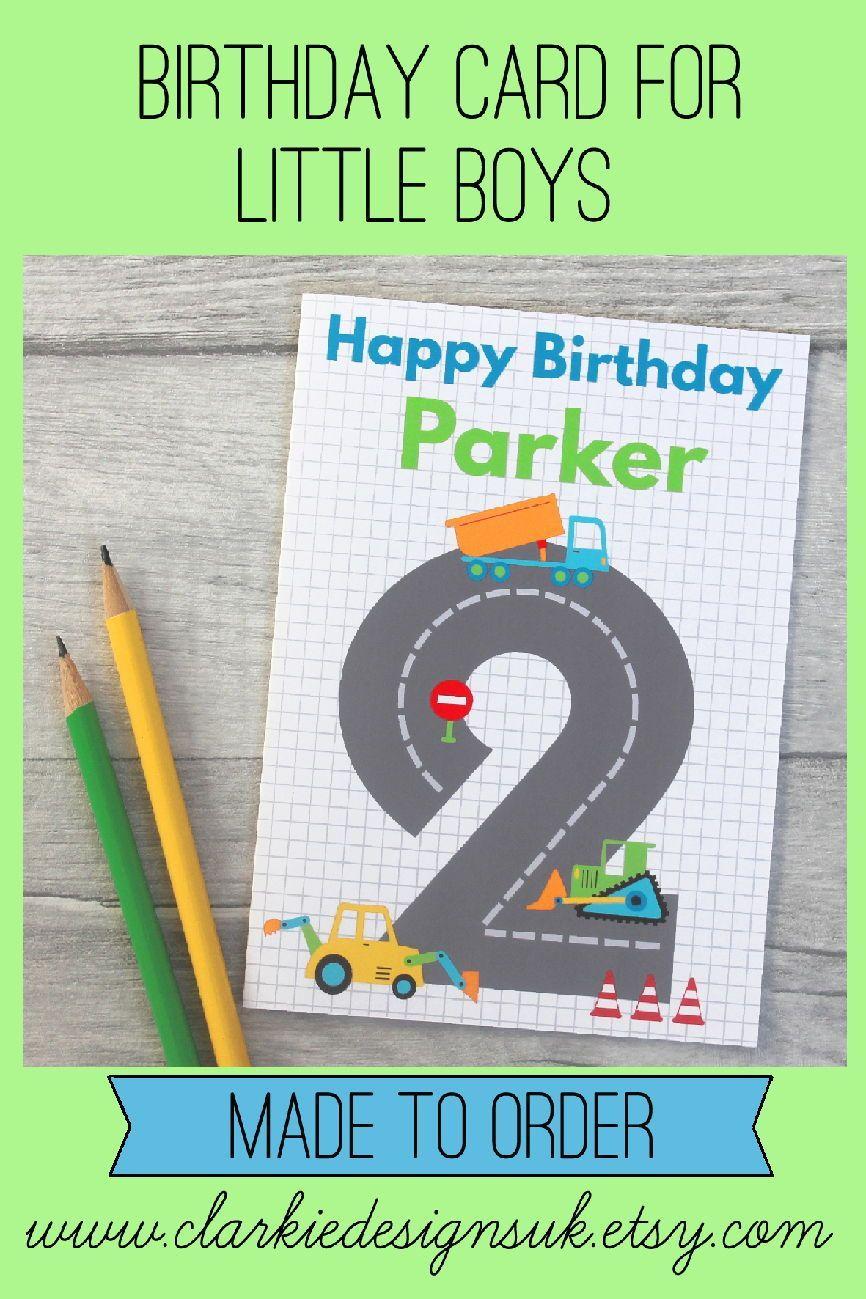 Digger Birthday Card 1st Birthday Cards Personalized Birthday Cards Happy Birthday Cards