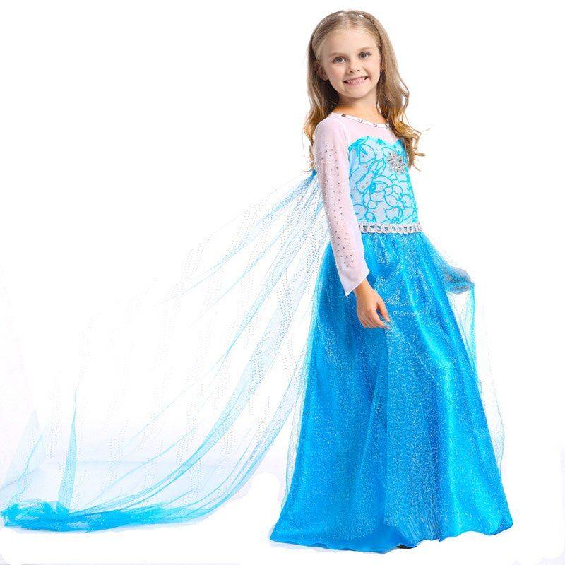 Multicolor Hot Selling Custom Longer Elsa Children Clothing For Girls Princess Children Dress Kids Wedding Dresses Vest Pakaian Wanita Baju Anak Anak Perempuan