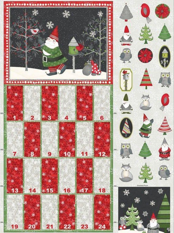 Winter Gnomes Advent Calendar Panel 29'' x 44'' christmas