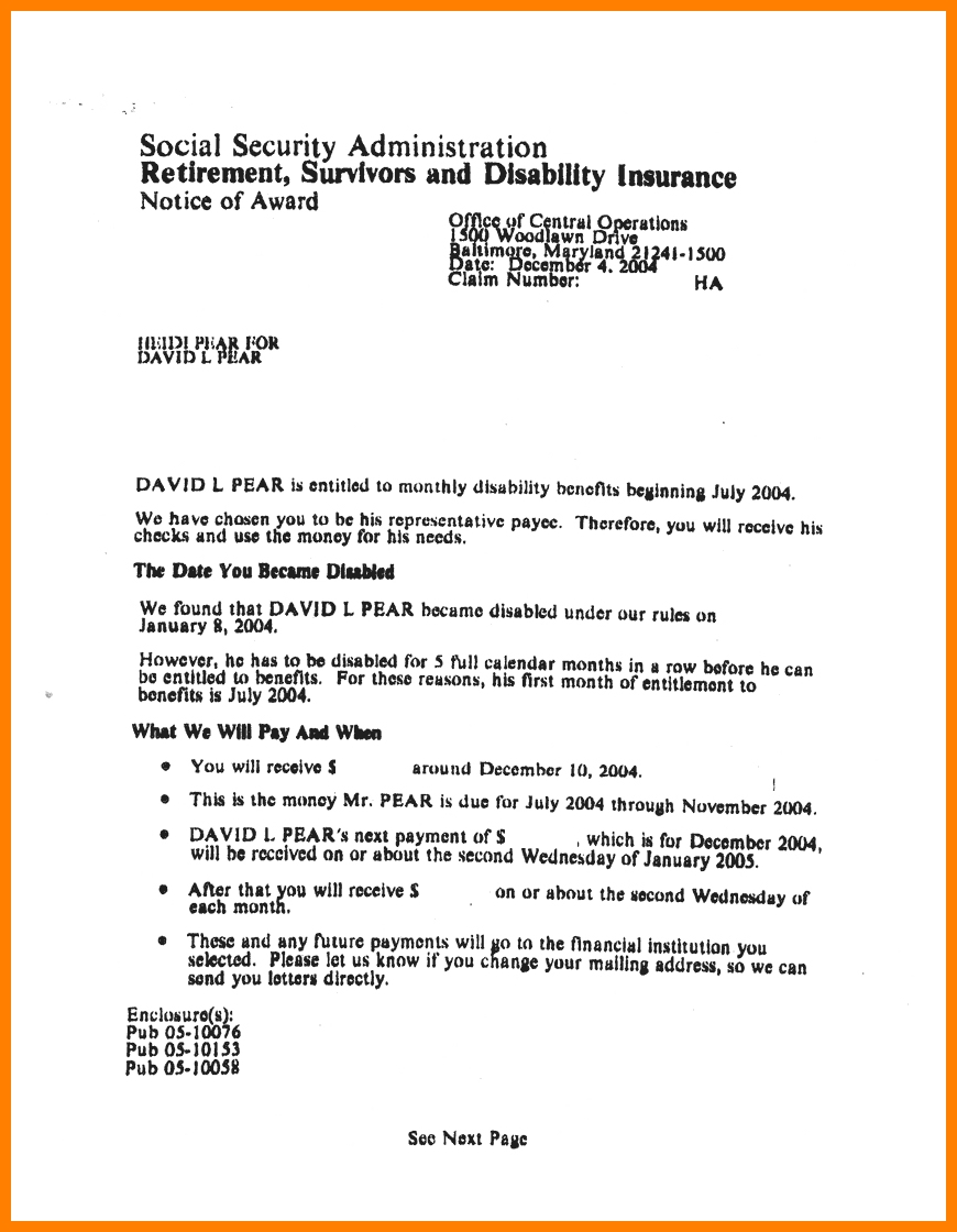 Social Security Approval Letter Best Business Template Award Bbq