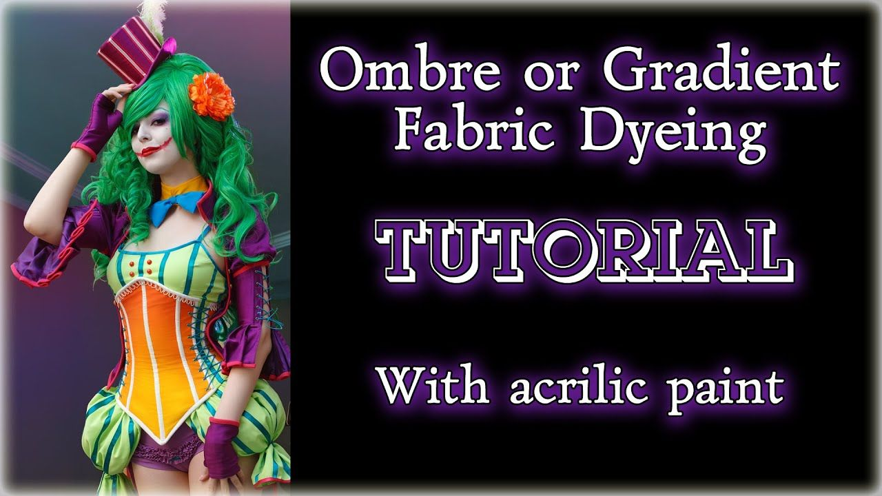 Ombre or Gradient Fabric Dyeing TUTORIAL (with acrilic paint) [Eng sub] #dyeingtutorials