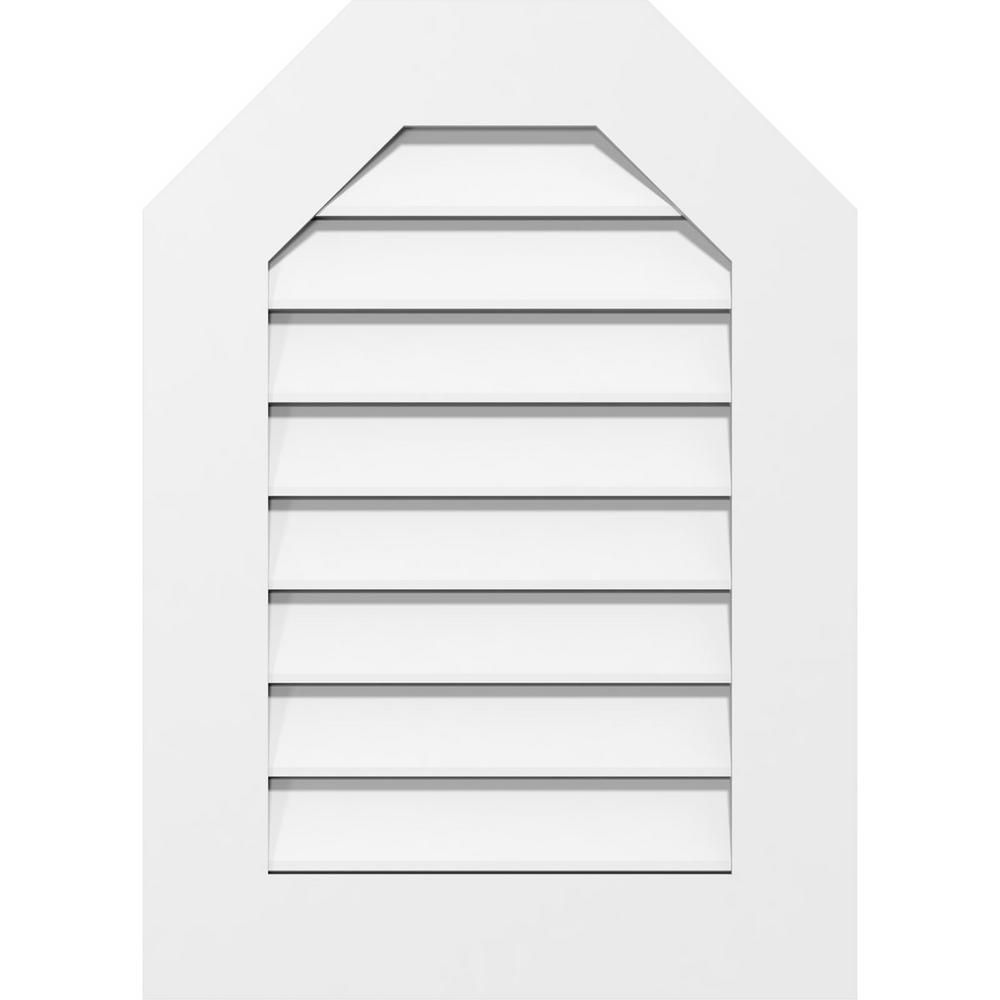 Ekena Millwork 38 in. x 42 in. Octagonal Top Surface Mount PVC Gable Vent: Functional with Standard Frame-GVPOT38X4201SF - The Home Depot