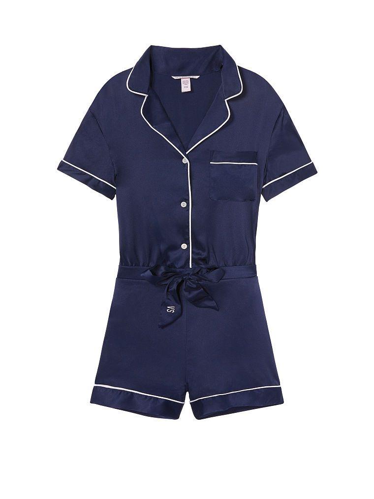 9c47a268f9fc ☆ Victoria s Secret - Satin Button Front Romper (in Classic Navy ...