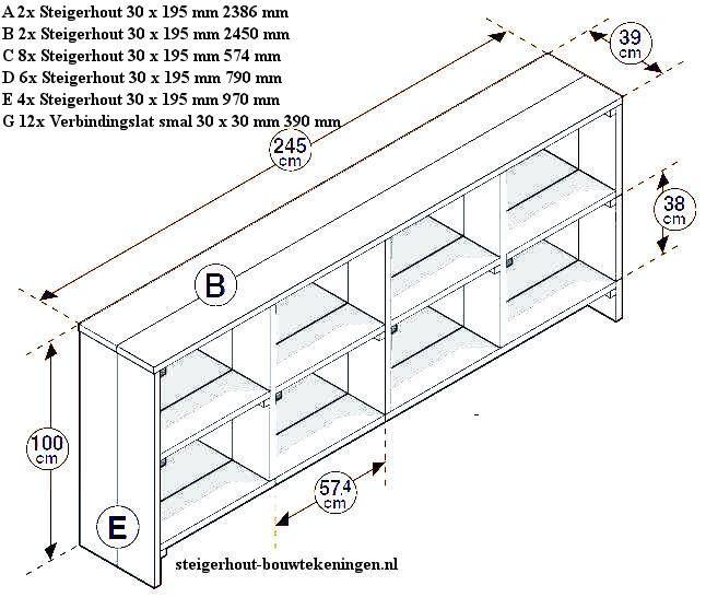 Vakkenkast Van Steigerhout Bouwtekening Voor Een Laag