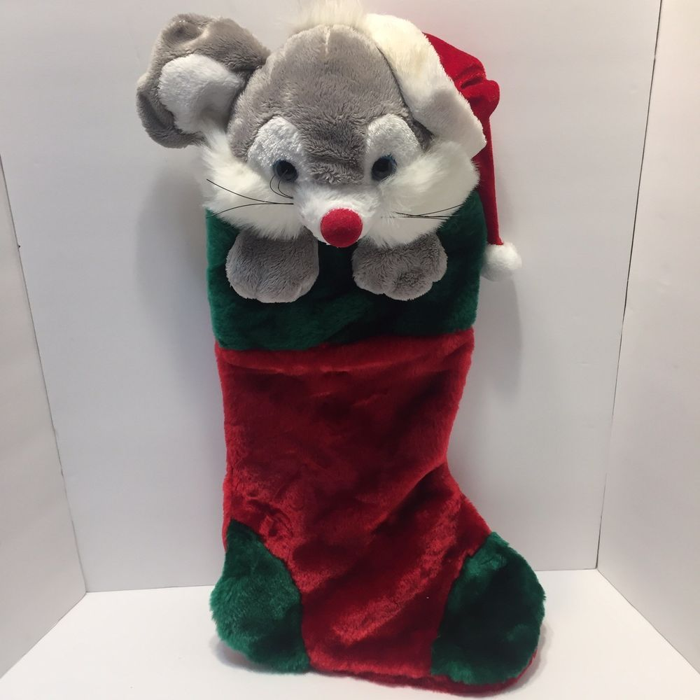 Christmas Mouse Stocking Plush 3d Head Red Green Santa Hat Soft