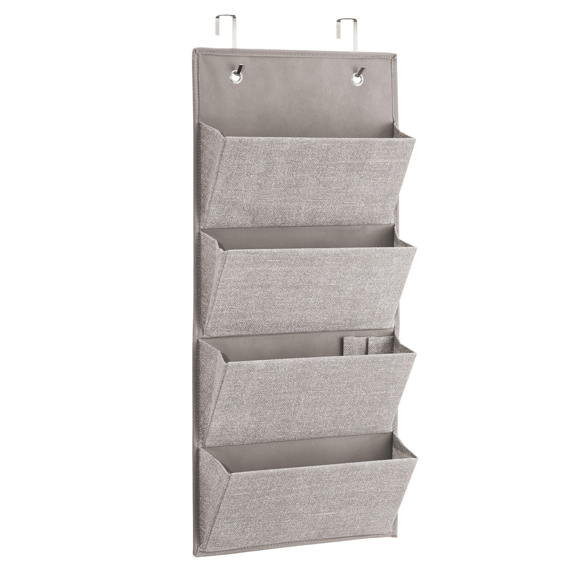 Mdesign Soft Fabric Wall Mount Over Door Hanging Storage Organizer 4 Large Pockets For Chil Hanging Closet Storage Storage Closet Organization Nursery Storage
