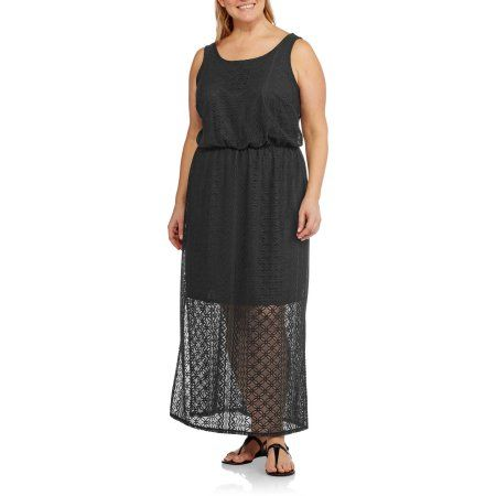 Plus Size Faded Glory Women's Plus Lace Maxi Dress, Size: 1XL ...