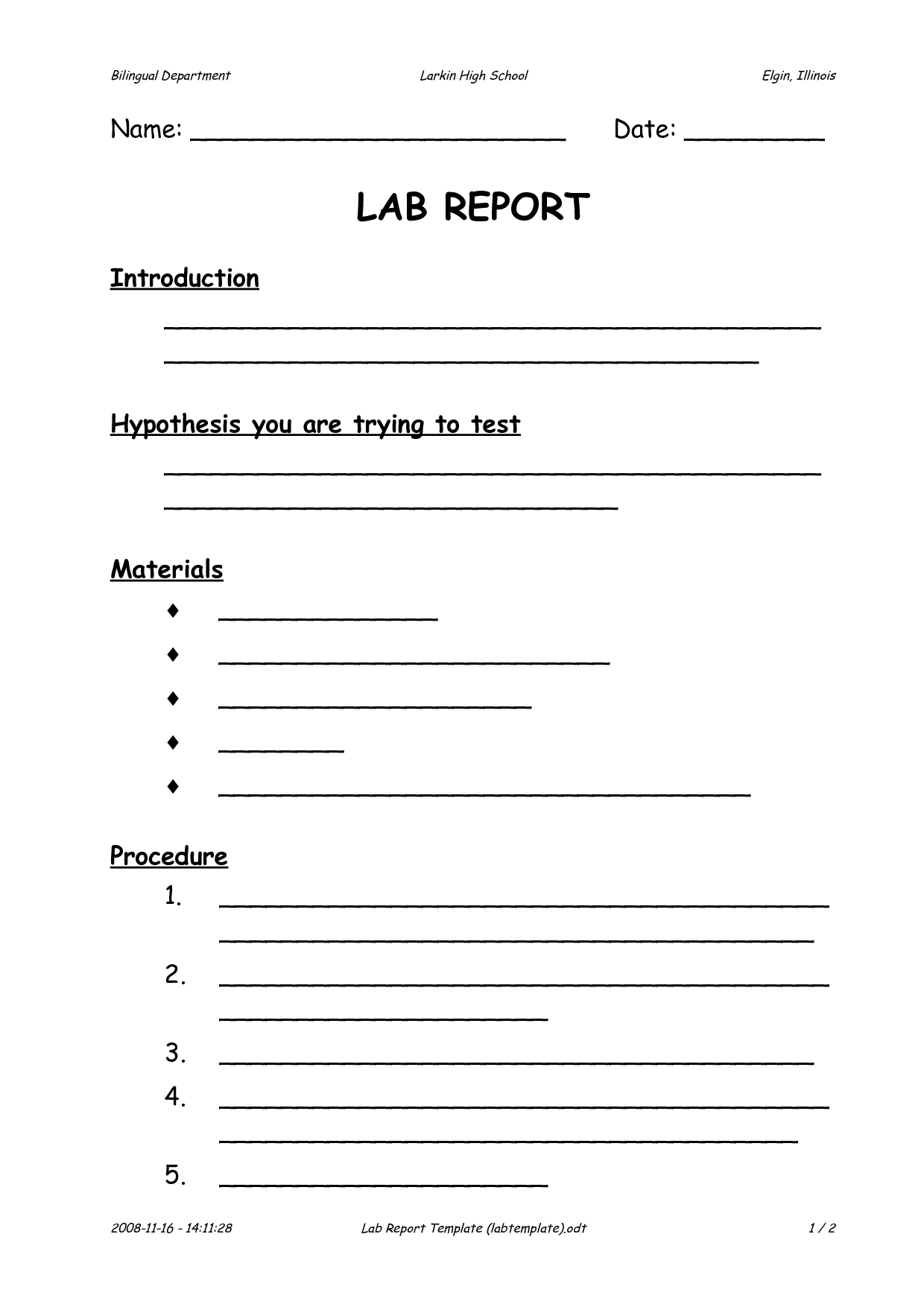 Lab Report Template By Nvh 7glt4bds