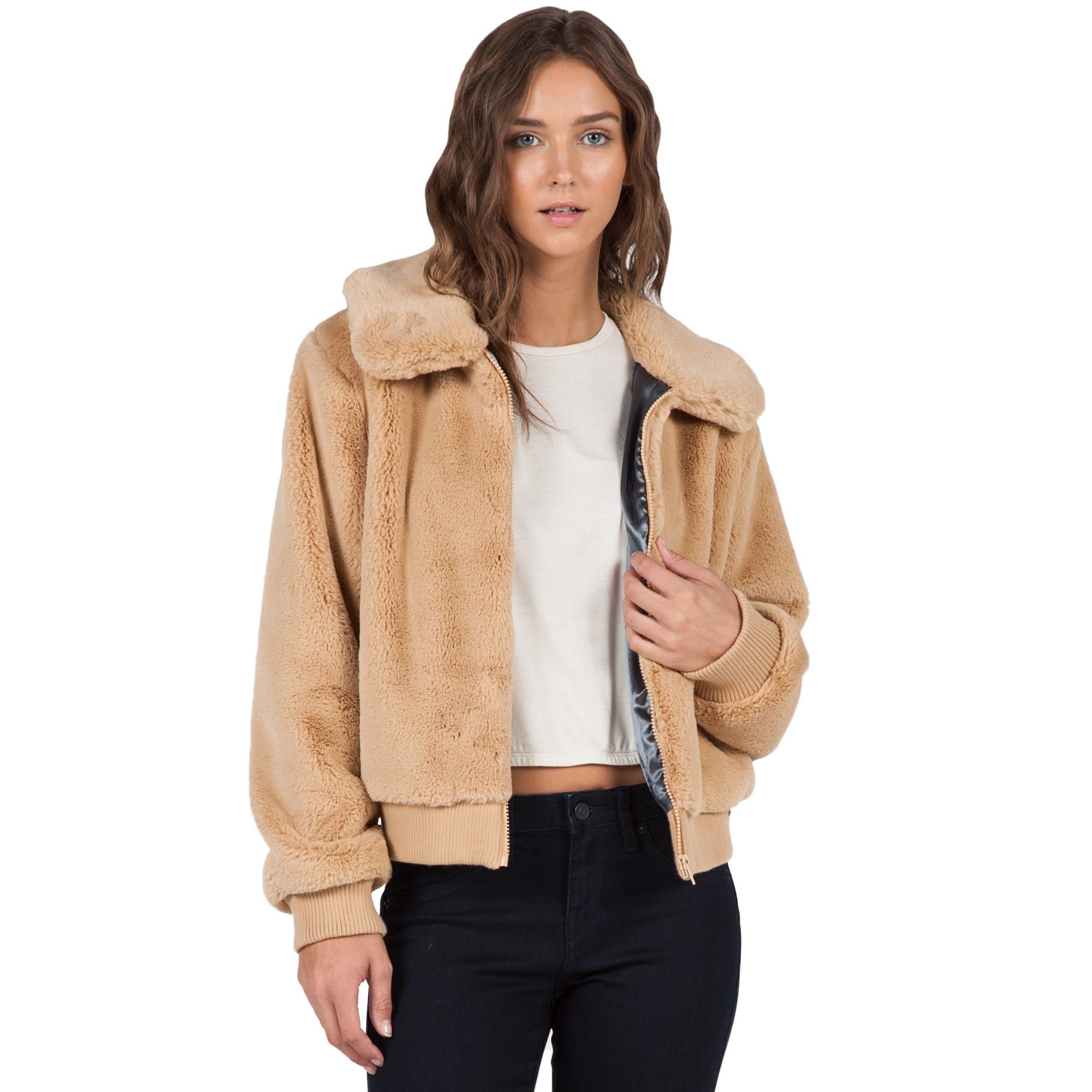 A modern twist on the bomber style our furcasting jacket is crafted