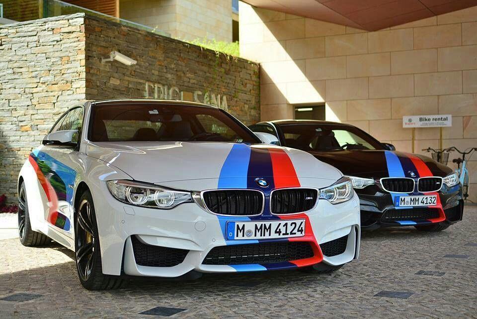 Bmw F82 M4 Pair White Black M Stripe Bmw Bmw Red Bmw Design