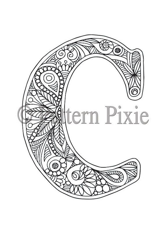 Adult Colouring Page Alphabet Letter C