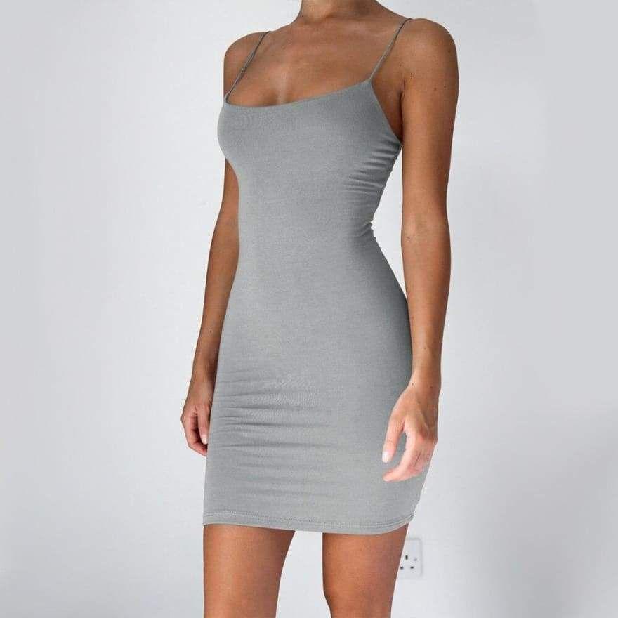 Photo of Women Summer Dress Spaghetti Strap Bodycon  Mini Beach Sundress, Gray / XXL