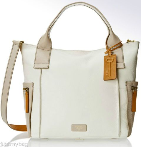 New-FOSSIL-Emerson-All-Leather-Tri-color-Tote-w-Side-Pockets-Strap-White-M