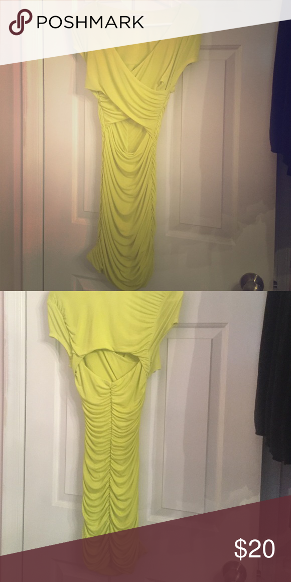 Sexy Arden B Dress Sexy dress with stomach and back exposure. In s neon yellow/green color Size Xsmall in great condition. Smoke free/no pet home Arden B Dresses Mini