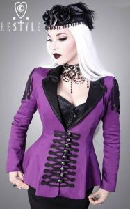 Restyle Ladies Military Jacket Purple Black R-7