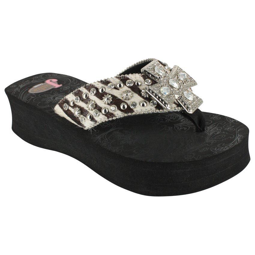 e78b433f1 Justin Women s Randi Zebra Hair on Hide Sandals