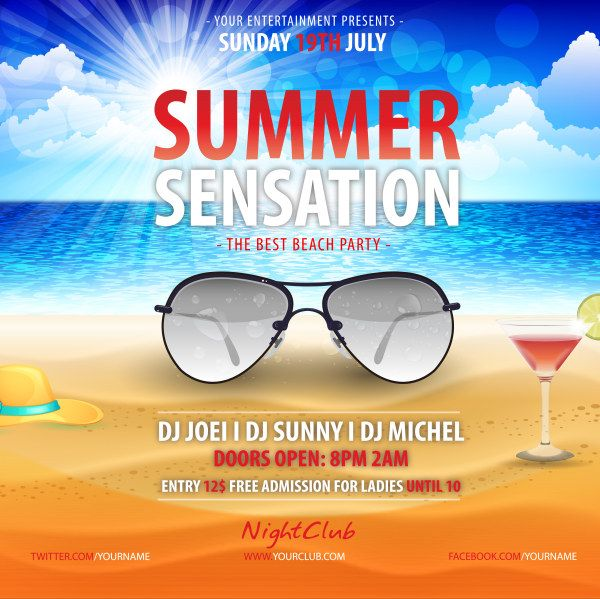 Summer beach party poster creative design vector beachy - best of invitation templates for beach party