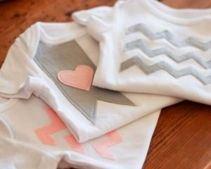 DIY Adornos Camisetas niños con fieltro. Chevron Stripes Applique