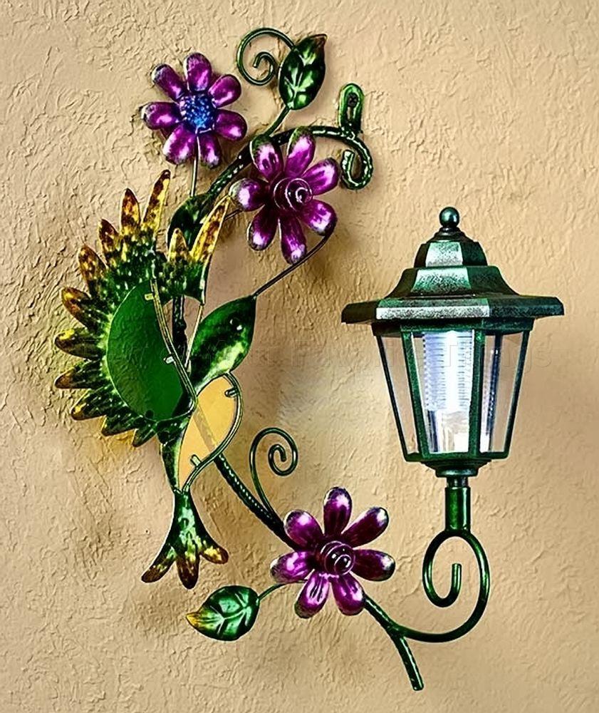 Hummingbird solar wall lantern light yard porch patio deck outdoor ...