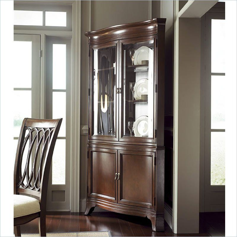 American Drew Cherry Grove Corner China In Mid Tone Brown  091 Amusing Corner Hutch Dining Room Furniture Review