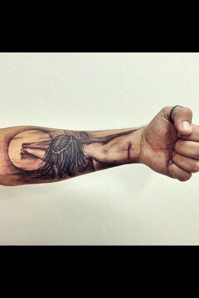 3d Jesus Tattoo On Forearm 97804 Loadtve