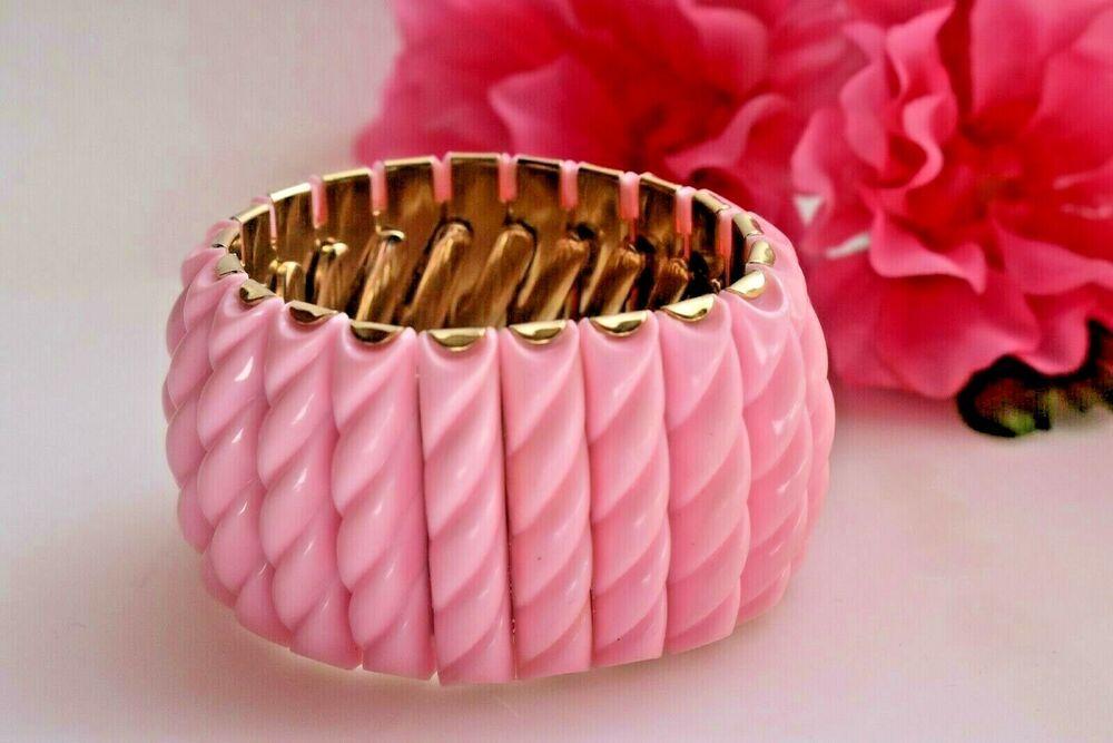 Orange Gold and Cream Bracelet FREE SHIPPING USA Retro Vintage Fashion Great Gift Lucite Stretch Bangle Bracelet